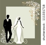 invitation cards with the bride ... | Shutterstock .eps vector #111331718