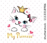 hand drawn card with cute... | Shutterstock .eps vector #1113318986