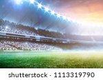 empty sunset grand soccer arena ... | Shutterstock . vector #1113319790