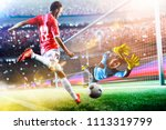 goalkeeper catches the ball on... | Shutterstock . vector #1113319799
