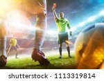 soccer referee showing a red... | Shutterstock . vector #1113319814