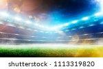 empty sunset grand soccer arena ... | Shutterstock . vector #1113319820