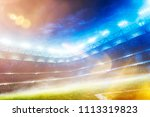empty sunset grand soccer arena ... | Shutterstock . vector #1113319823