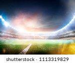 empty sunset grand soccer arena ... | Shutterstock . vector #1113319829