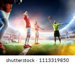 soccer referee showing a red... | Shutterstock . vector #1113319850