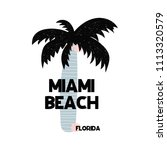 card with lettering miami beach ... | Shutterstock .eps vector #1113320579