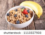 oat meal  muesli and blueberry | Shutterstock . vector #1113327503