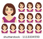 woman with different facial... | Shutterstock .eps vector #1113334550