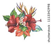 watercolor bouquet of tropical... | Shutterstock . vector #1113342998
