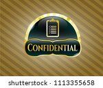 gold shiny badge with list... | Shutterstock .eps vector #1113355658