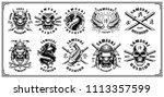 set of vintage samurai warrior... | Shutterstock .eps vector #1113357599