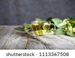 linden blossoms tea in a glass... | Shutterstock . vector #1113367508
