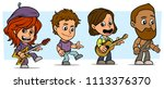 cartoon funny boy and girl... | Shutterstock .eps vector #1113376370