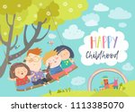 happy kids flying on a swing | Shutterstock .eps vector #1113385070