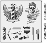 set of vintage barber shop... | Shutterstock .eps vector #1113387380