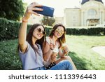 two women friends take selfie... | Shutterstock . vector #1113396443