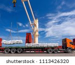 sugar bags are loading in hold... | Shutterstock . vector #1113426320