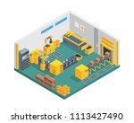 modern isometric factory... | Shutterstock .eps vector #1113427490