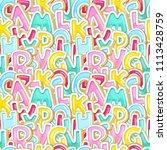 alphabet sweet seamless pattern.... | Shutterstock .eps vector #1113428759