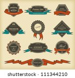 set of vintage labels with... | Shutterstock .eps vector #111344210