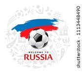 soccer ball and flag of russia... | Shutterstock .eps vector #1113448490