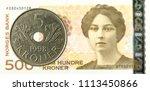 5 norwegian krone coin against... | Shutterstock . vector #1113450866