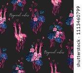 pink flamingo pattern....   Shutterstock .eps vector #1113460799