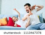 the happy father and his six...   Shutterstock . vector #1113467378