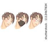 set. handsome guys. glasses and ... | Shutterstock .eps vector #1113467834