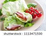 lettuce wraps with turkey and...   Shutterstock . vector #1113471530