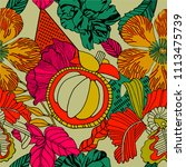 exotic bright print design with ... | Shutterstock .eps vector #1113475739