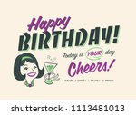 vintage style happy birthday... | Shutterstock .eps vector #1113481013