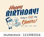 vintage style happy birthday... | Shutterstock .eps vector #1113481016