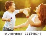 happy family having fun. baby... | Shutterstock . vector #111348149