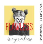 flawless slogan with girl palm... | Shutterstock .eps vector #1113497726