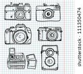 sketch retro camera set | Shutterstock .eps vector #111350474