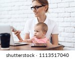 young business lady try to work ...   Shutterstock . vector #1113517040