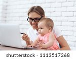 young business lady entertains...   Shutterstock . vector #1113517268