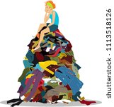 sad woman sitting on a big pile ... | Shutterstock .eps vector #1113518126