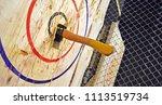 indoor axe throwing hall for... | Shutterstock . vector #1113519734