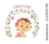 little sweet cute baby girl... | Shutterstock . vector #1113519740