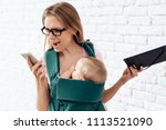 agitated business woman talking ...   Shutterstock . vector #1113521090