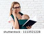 business woman talking phone...   Shutterstock . vector #1113521228