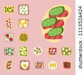 breakfast toast set slices...   Shutterstock .eps vector #1113526424