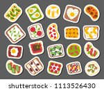 breakfast toast set slices... | Shutterstock .eps vector #1113526430