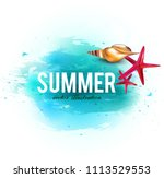holiday banner with shells and... | Shutterstock .eps vector #1113529553