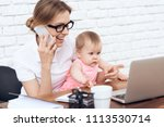young business lady try to work ...   Shutterstock . vector #1113530714