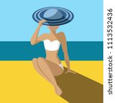 tanned girl in a hat on the... | Shutterstock .eps vector #1113532436
