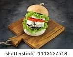 vegetarian burger with grilled... | Shutterstock . vector #1113537518