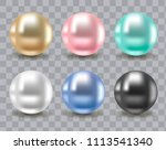realistic multicolored pearls... | Shutterstock .eps vector #1113541340